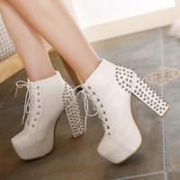 Women Spike Rock Lace Up Ankle Boots Rivet Gothic Punk Platform High Heel Shoes