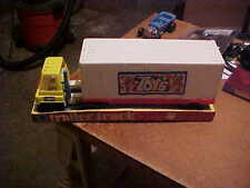 70s TRACTOR TRAILER SEMI SET STILL NEW IN BOX SAYS TOYS ON SIDE OF TRAILER