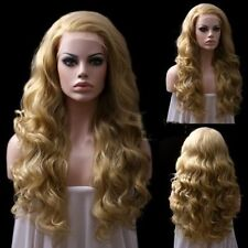 Long Wavy Dark Blonde Hair Lace Wig Fashion Natural Synthetic Heat-Resistant