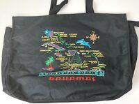 Bahamas Black Nautical Map Embroidered Tote Bag Beach Shopping