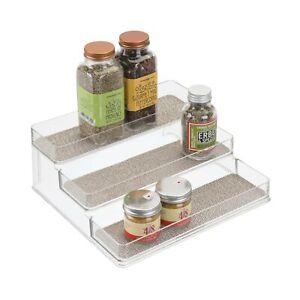 iDesign Twillo Plastic Stadium Spice Rack, 3-Tier Organizer for Kitchen Pantr...