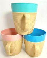 3 ribbed mugs Raffiaware by Thermo-Temp teal pink blue