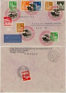 GERMANY HEIDELBERG BI COLOUR SPECIAL POSTMARKS AIRMAIL to TSUMEB SWA AFRICA 1948