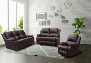 RECLINER LAZY BOY BROWN SOFA SUITES SETTEE  3 2 1 SEATER ARMCHAIR FAUX LEATHER