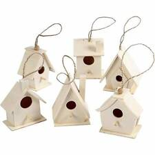 Wooden Bird Houses Poplar Wood Craft Feeding Table Garden Hanging Decoration x 6