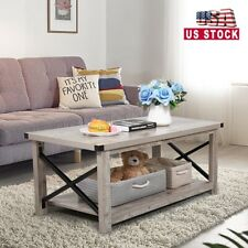 Industrial Coffee Table w/Storage Wooden Tea Table Accent Tea Living Room