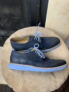 Cole Haan Lunargrand Blue Sz 8.5 M Suede Oxford C13198 Shoes
