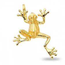 Frog Pendant Solid 14k Yellow Gold Charm Polished Fashion Style Genuine