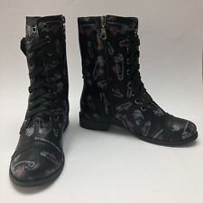 IRON FIST Womens Size 6 Punk Combat Boots  Mid Calf Skull Hearts Studs Black