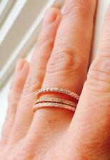 2.5 mm CW Round Cut CZ Rose Gold Stackable Eternity Bridal Band Ring 925 Size 10