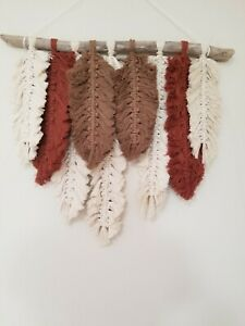 Macrame Leaves / Feathers Wall Hanging/Natural/Brown/Copper/Wall Decor NEW