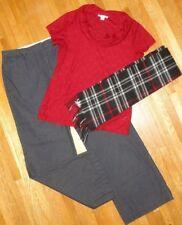 Women's Christmas Clothing Lot 10/12 Medium Pants Top Scarf Plaid Holiday 3 pc