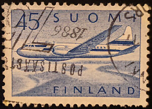Stamp Finland SG594 1958 45Mk Airplane Airmail Used