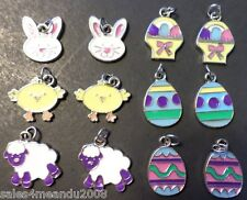 12 Enamel Easter Egg Chick Bunny Basket Lamb Charms Jewelry Making N3 ~Fast Ship