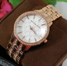 NWT Michael Kors MK3183 Lady's Nini MK Logo White Dial Crystal Watch