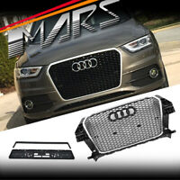 Chrome Black Honeycomb RSQ3 Style Front Bumper Grille Grill for AUDI Q3 8U 12-14