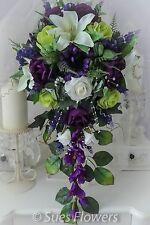 LARGE BRIDES TEARDROP IN CADBURYS PURPLE, LIME GREEN AND IVORY