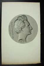Antigua cuadro Alfonso Lamartine medallón según David Angers c1850