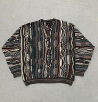 Vtg Croft & Barrow Wool Sweater CHUNKY Hand Knit Men's XL Abstract Bill Cosby
