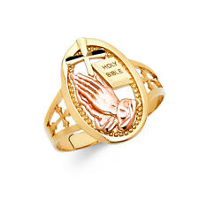 Women 14k Yellow Rose Real Gold Religious Praying Hands Holy Bible Ring Band