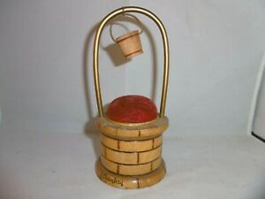 Vintage French wishing well pin cushion. Souvenir of Chambery. c1950