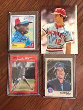 DONRUSS, FLEER AND TOPPS SIGNED CARDS OF Brett Butler, Tim Raines, Jamie Moyer,