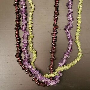 3 natural chip necklaces Garnet, African Amethyst, Peridot