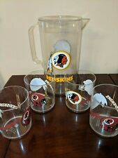NFL Washington Redskins Helmet Logo PLASTIC Beer Pitcher 4 glasses NFL Tailgate