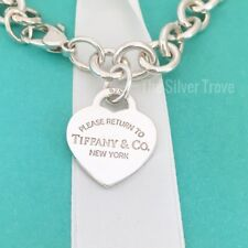"Large 8.75"" Please Return to Tiffany & Co Silver Heart Tag Charm Bracelet"