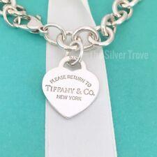 "8"" Please Return to Tiffany & Co Silver Heart Tag Charm Bracelet"