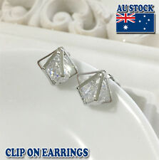 18CT White Gold Plated Clip On Earrings With Big Clear Swarovski Crystal