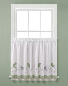 """MORNING SONG Saturday Knight Tier Pair - 57""""W x 24""""L -Blue, Green, White - Birds"""