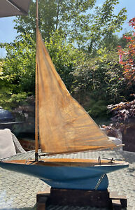Antique wooden Sailing pond yacht. With Stand Lead Keel Brass Fittings C1920