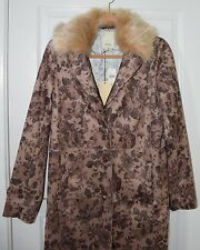 NWT Anthropologie ELEVENSES suede polyester floral brown coat women 6 $258 NEW