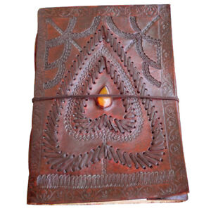Handmade Paper Stone Heart Design Leather Journal Diary, Special Gift of Love