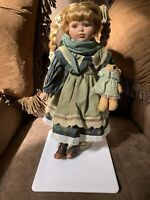 European Style Porcelain Doll with Teddy Bear Collector Gift Idea Great Gift Dec