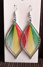 LEAF shaped earrings rasta colours strung yellow green red 8cm drop hooks