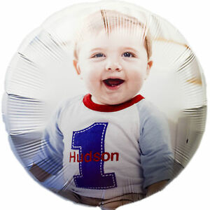 "18"" Personalised Photo Boy's Children's Birthday Party Printed Foil Balloon"