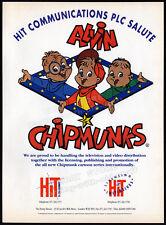 Alvin und die Chipmunks __ Original 1990 Handel Printanzeige Promo-Hit Kommunikation