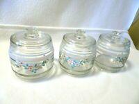 "Vintage Clear Glass Set of 3 Vanity Jars w. Lids-Enamel Paint-Nursery-Marked ""K"""