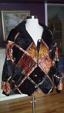 (Passports) Black Velour Multi Color Patchwork Design Jacket Size MED