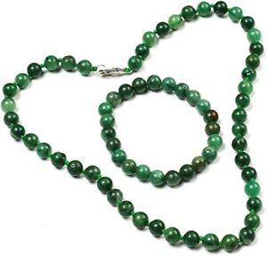 Green African Jade Gemstone Necklace and Bracelet Beaded Jewellery set for Women