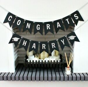 Custom Name Graduation Banner Decorations Class of 2021 Signs Bunting Garland