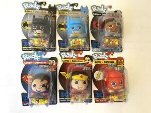6 RADZ Candy + Dispenser 3in1 Superman, FLASH, 2 BATMAN, Wonder Woman, & Cyborg