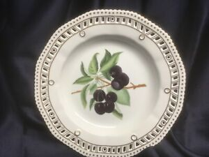 CHELSEA HOUSE porcelain DECORATIVE PLATE reticulated edge GOLD TRIM CHERRIES