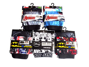 Mens 2 Pack Boxer Shorts Hipsters Batman Avengers Disney Mickey Mouse