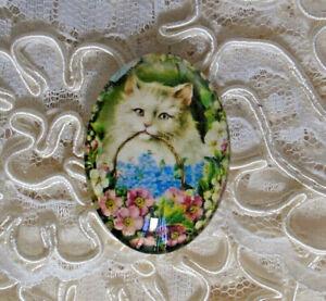 Vtintage Cat Floral 30X40mm Glitter Unset Handmade Glass Art Bubble Cameo Cab