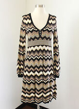 Karen Millen Chevron Striped Knit Dress Sz 2 Brown Tan Yellow Black Long Sleeve