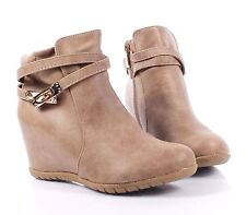 Taupe Fashion Booties Womens Wedges Hidden Heels Pumps Ankle Boots Size 8.5