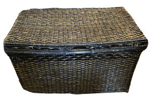 30 in. Brown Wicker Basket Storage Trunk  Chests